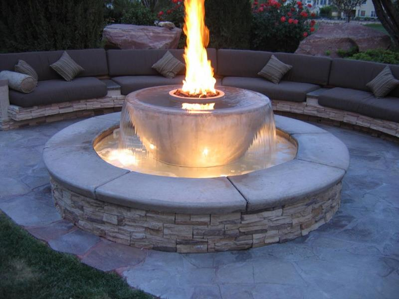 Fountain and Fire Pit Modern Style