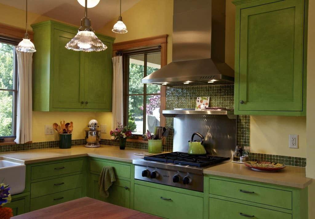 Grass Green Kitchen Cabinets