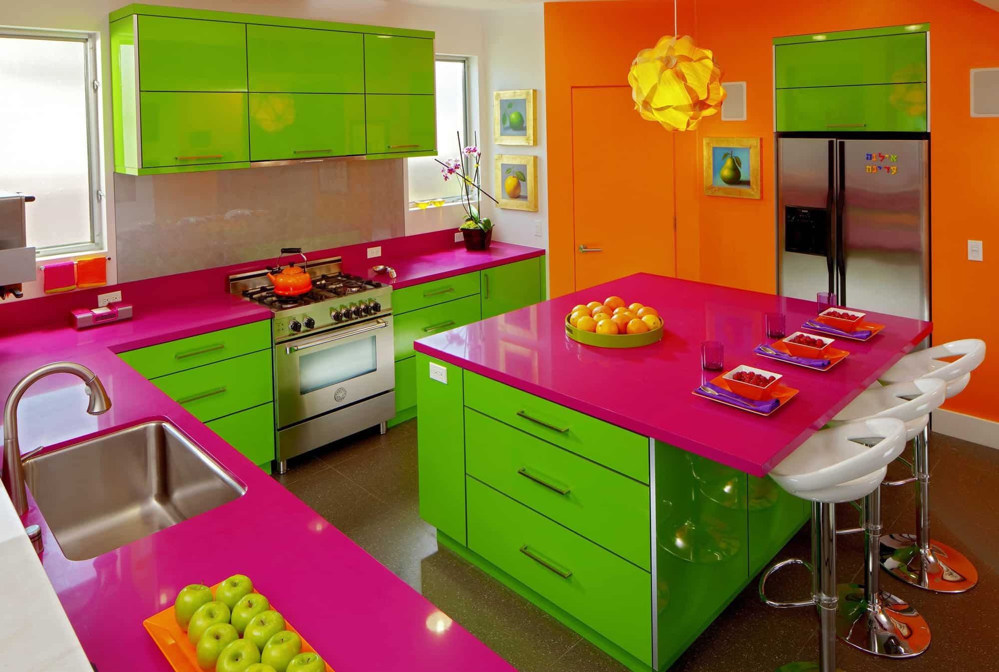 Hot Pink aand Lime Cabinets