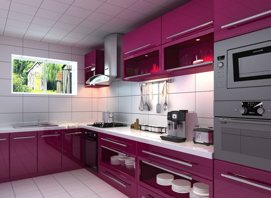 Interior Design Purple Kitchen