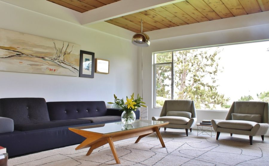 Popular mid century living room with wood ceiling 900x556 On Trend Modern Furniture to Add to Your Home