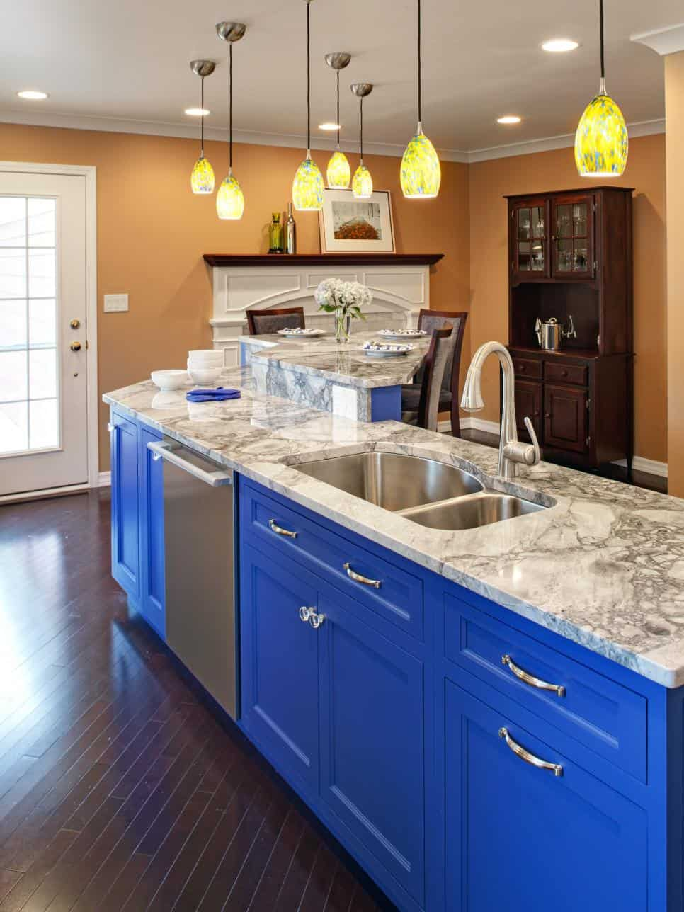 Royal Blue and Marble Cabinets