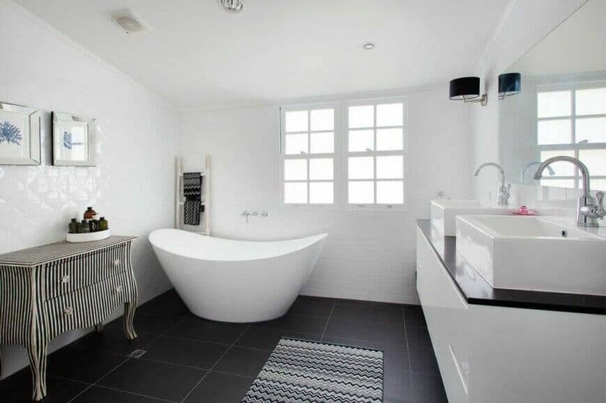 Saoking Tub in Eclectic Modern Bathroom