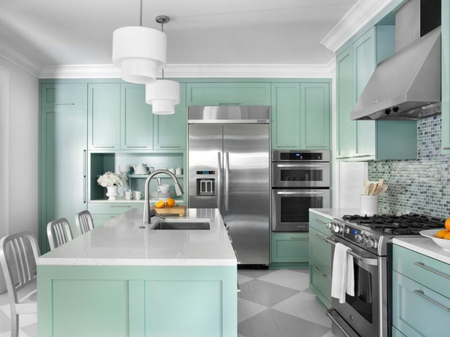 Seafoam Kitchen Cabinets 900x675 40 Colorful Kitchen Cabinets To Add A Spark To Your Home
