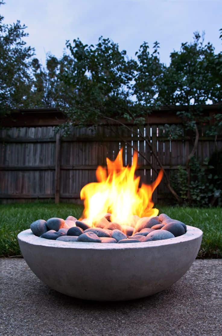 Small Round Modern Fire pit with stones