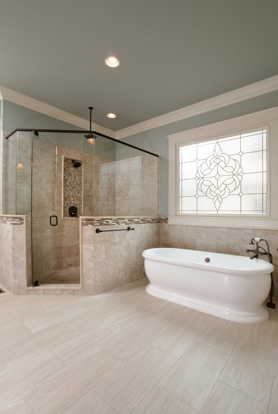 Soaking Bathtub in Spacious bathroom