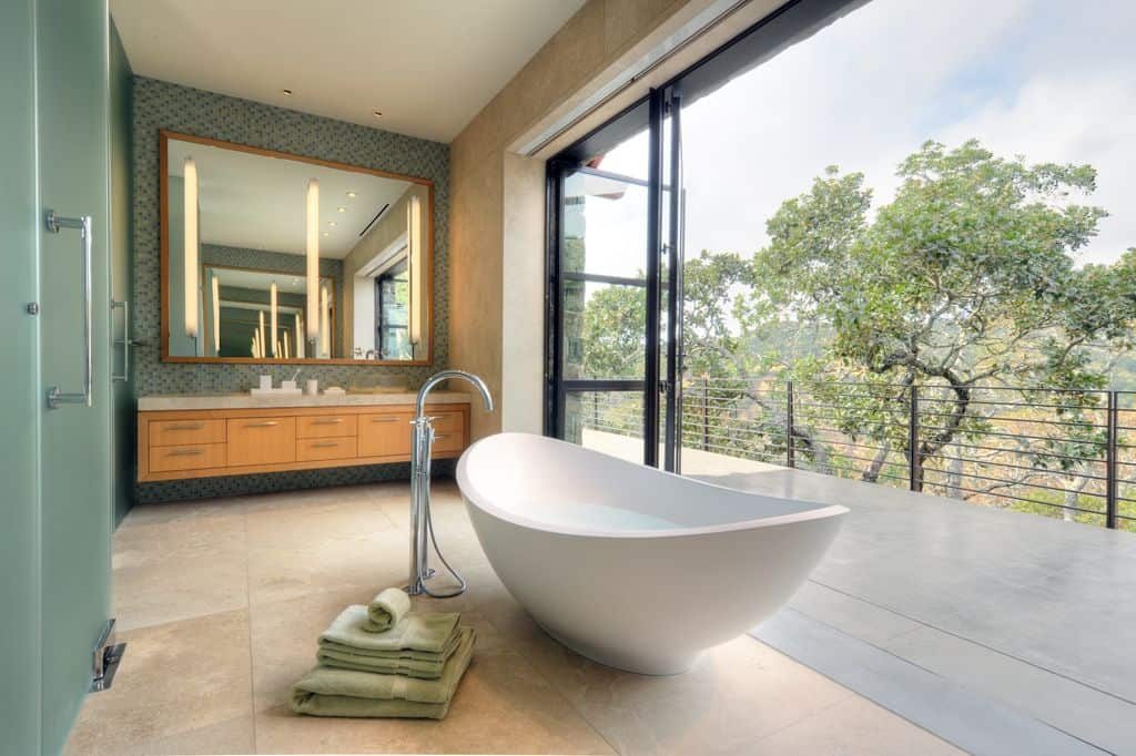 Soaking Tub in Bathroom with a view