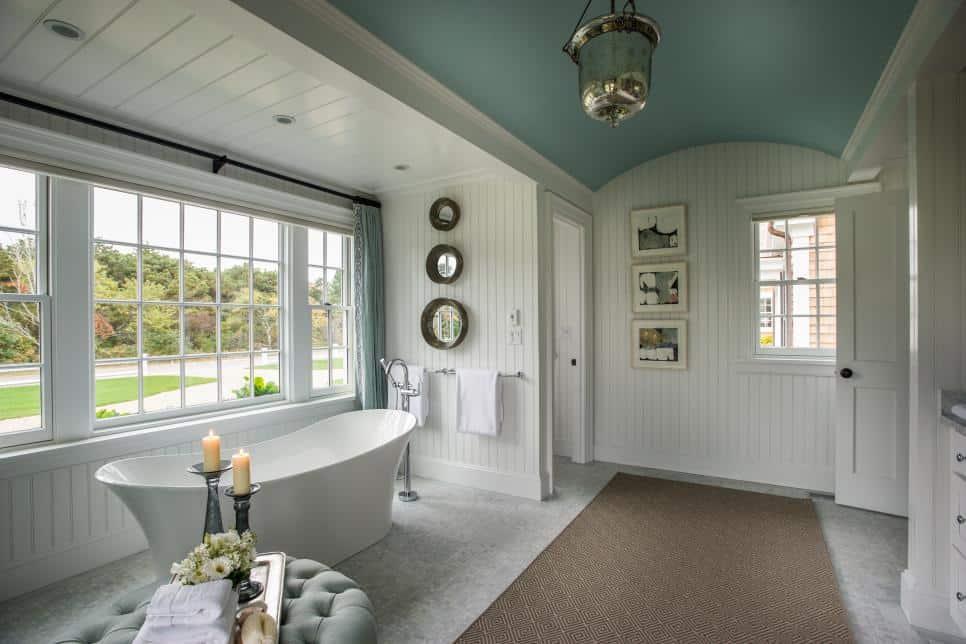 Soaking Tub in Farmhouse Style Bathroom