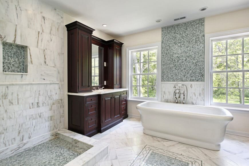 Soaking Tub in Marble Bathroom