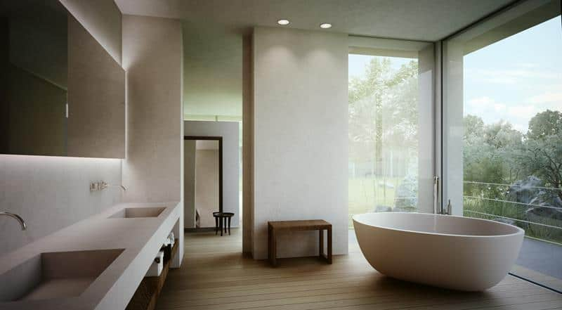 Soaking Tub in Minimalist Bathroom