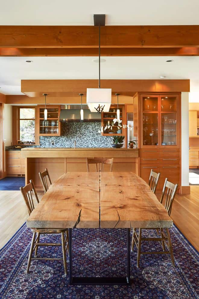 Solid wood dining table for an open space kitchen