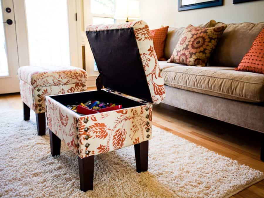 These storage ottomans hide living room clutter.