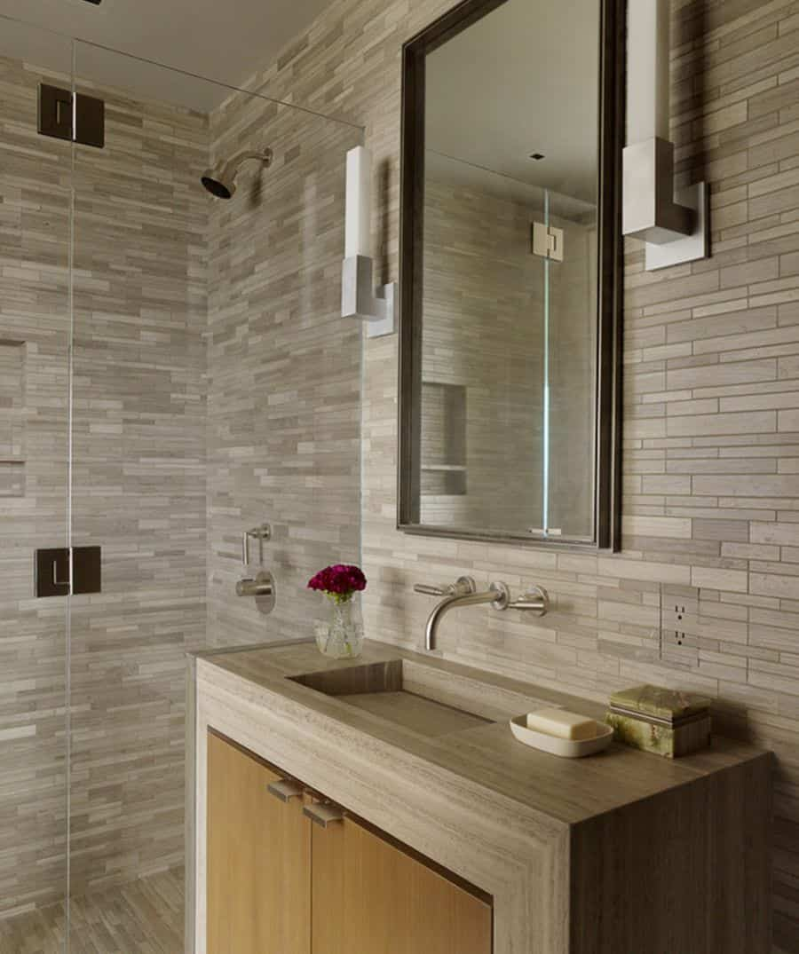 This modern style makes use of a recessed sink in the countertop
