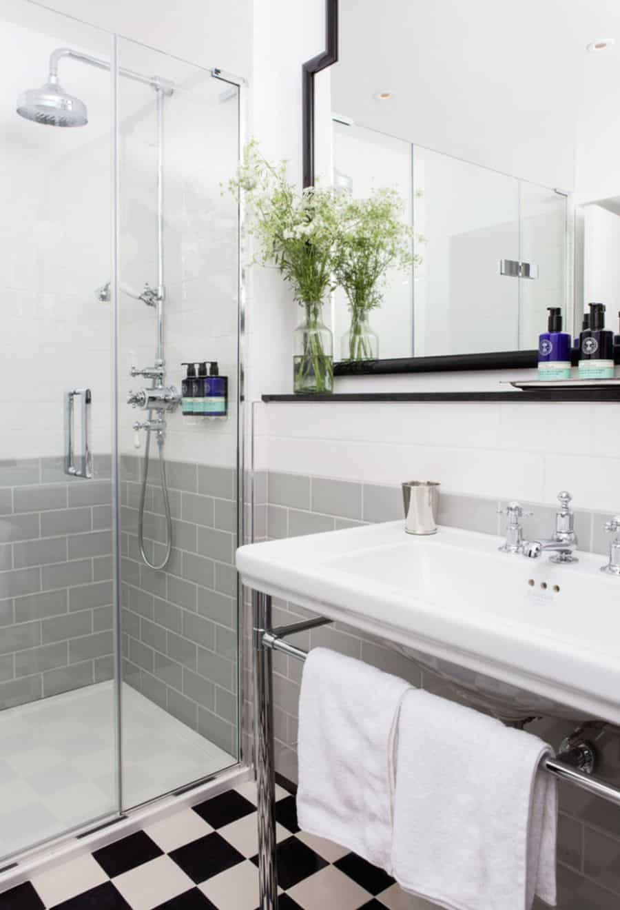 This modern white sink looks great in a guest bathroom.