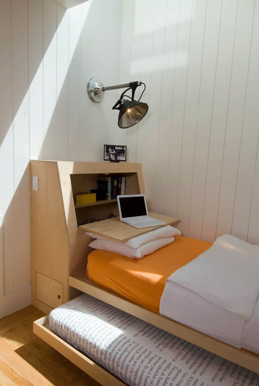 Try this headboard desk if you are limited on space.