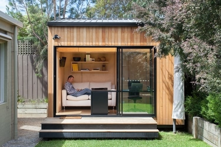 Try this modern she shed for a home office