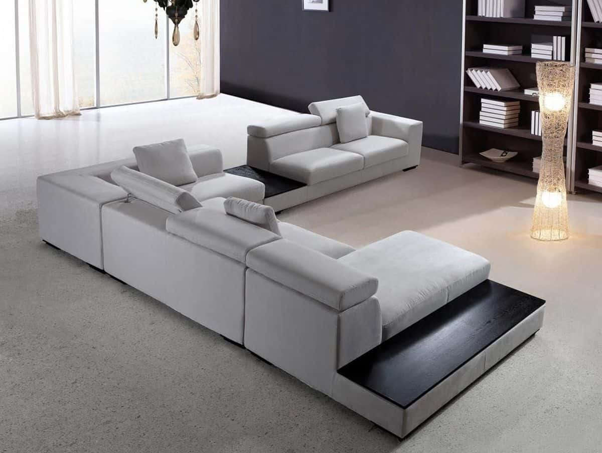 Modern Sectional Sofa Grey Microfiber Vg Fort 16 | Fabric within Houzz Modern Sofas