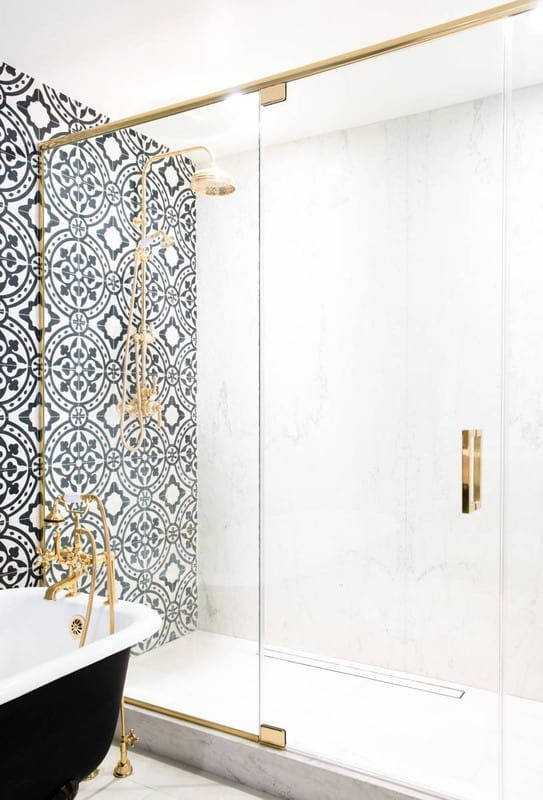black and white shower tile