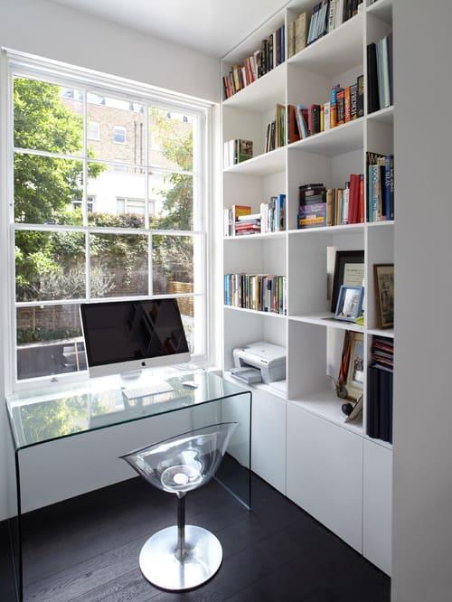 dark hardwood floor in home office