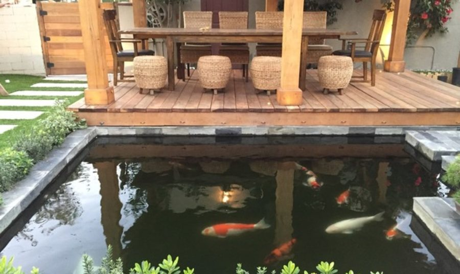 View In Gallery. Offset Your Patio With A Small Koi Pond ...