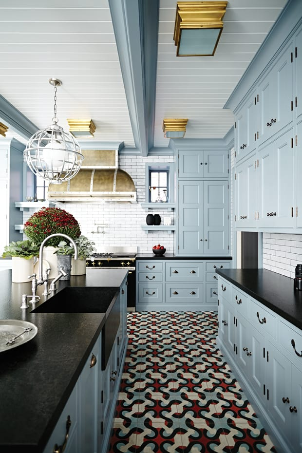 light blue kitchen cabinets with black