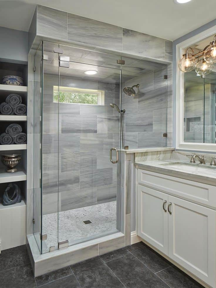 Superb View in gallery marble tile shower These Tile Shower Ideas Will Have You Planning Your Bathroom Redo