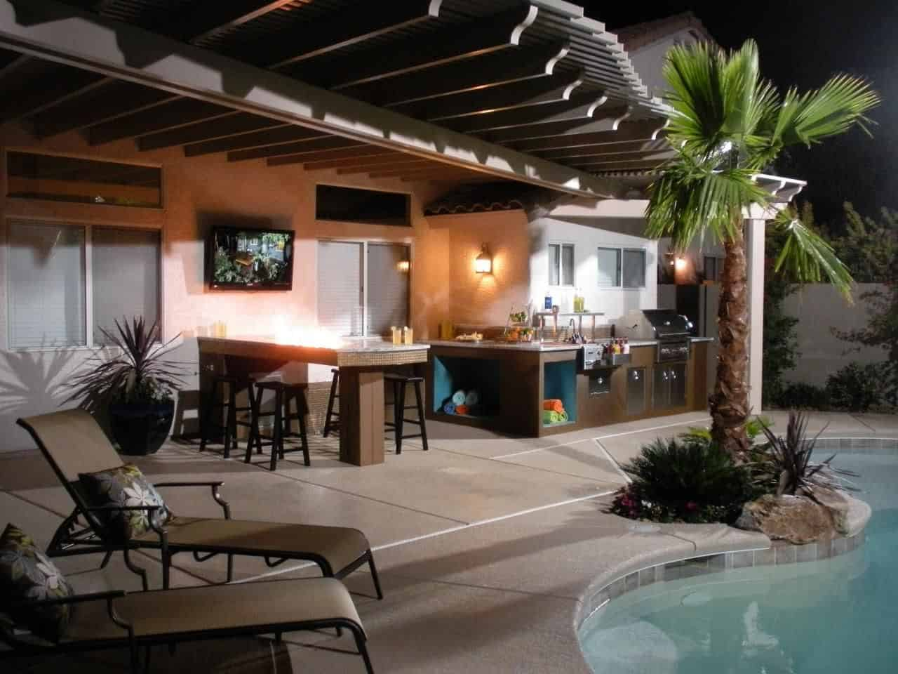 modern-outdoor-kitchen-ideas-grey-stone-bricking-walls-orange-pendant-bar-lighting-brown-varnished-wood-kitchen-island-brown-and-green-arm-chair-round-nickel-modern-swivel-bar-stool