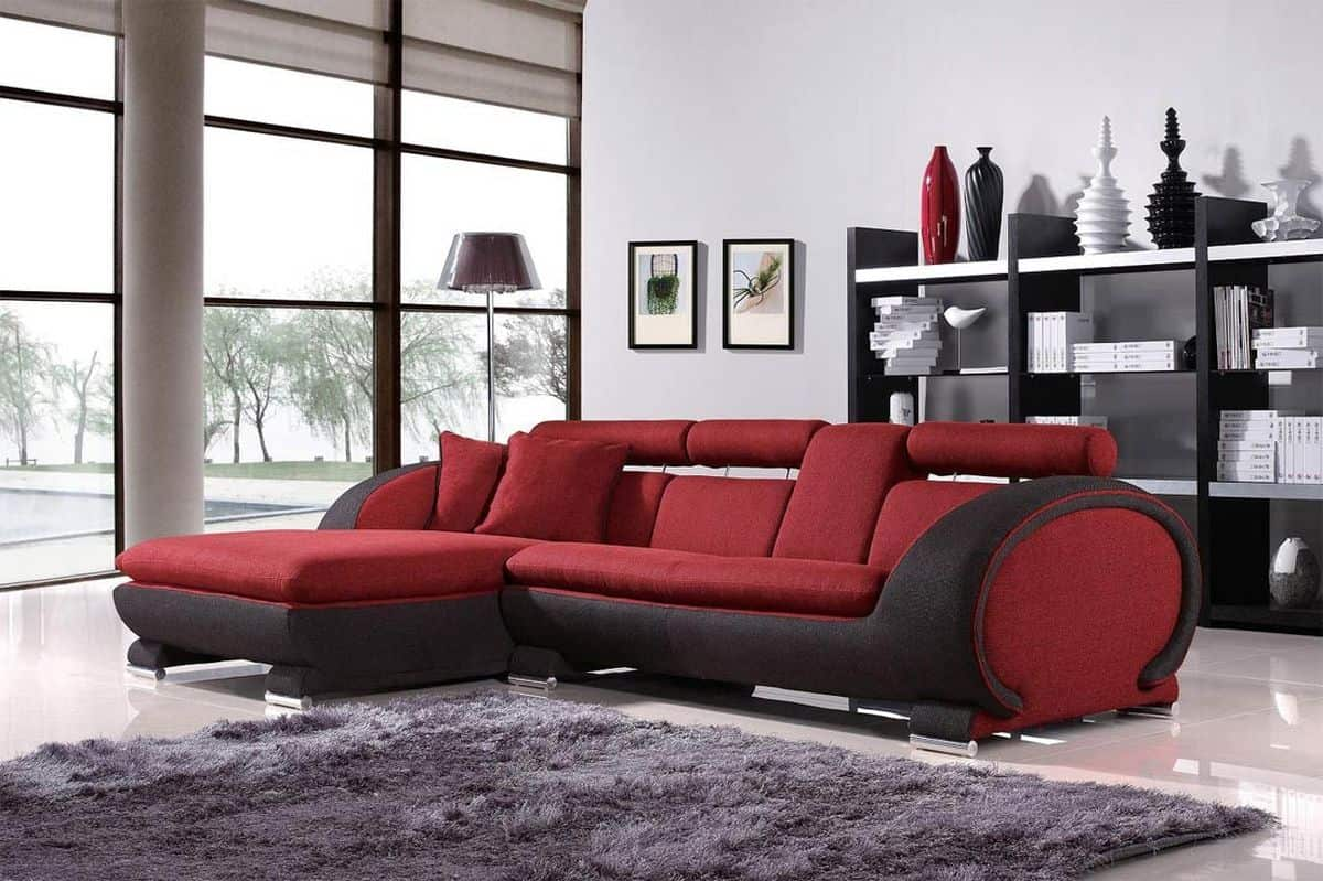 modern red and black sofa design