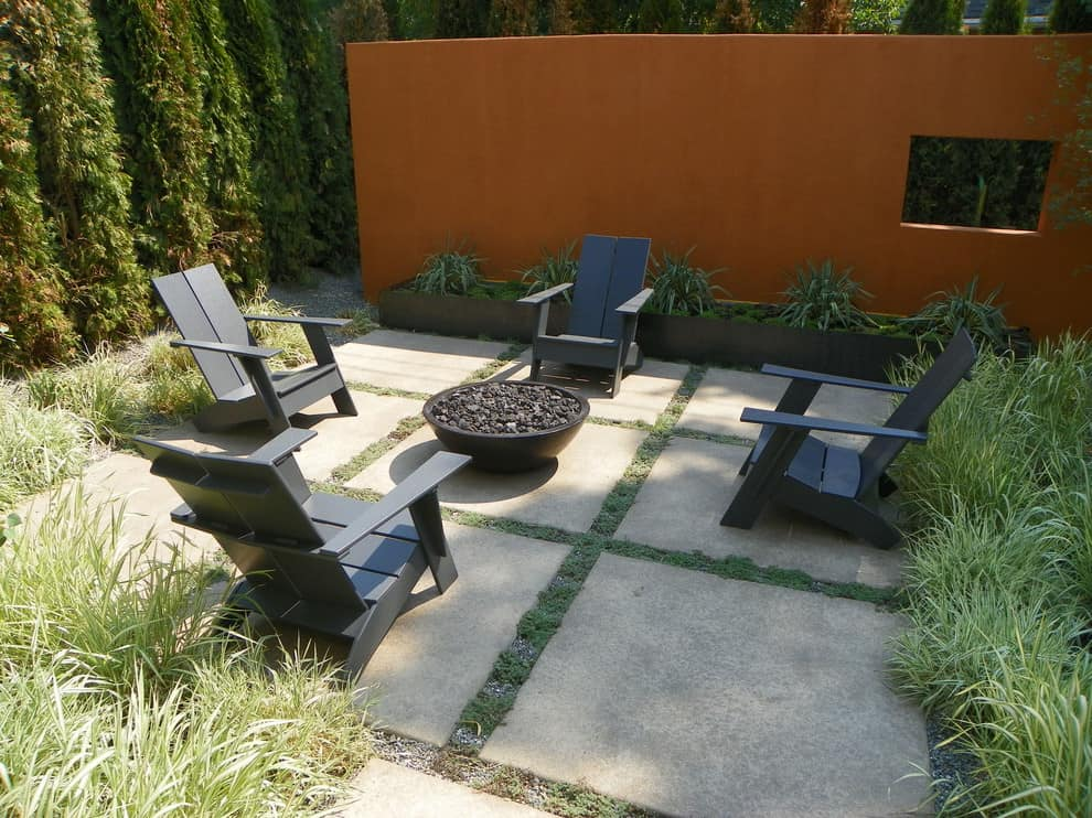 natural-gas-fire-pit-Patio-Modern-with-blade-wall-boulder-firebowl