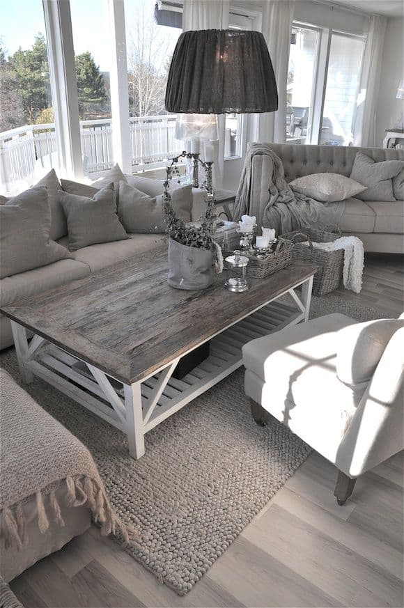 Large Coffee Tables For Your Spacious Living Room - Rustic light wood coffee table
