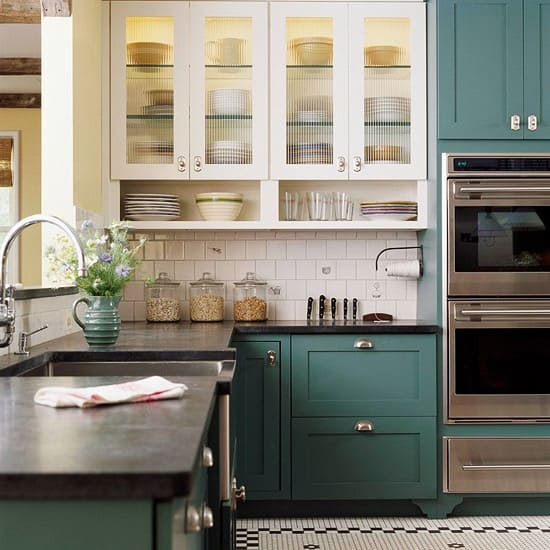 white and green kitchen cabinets