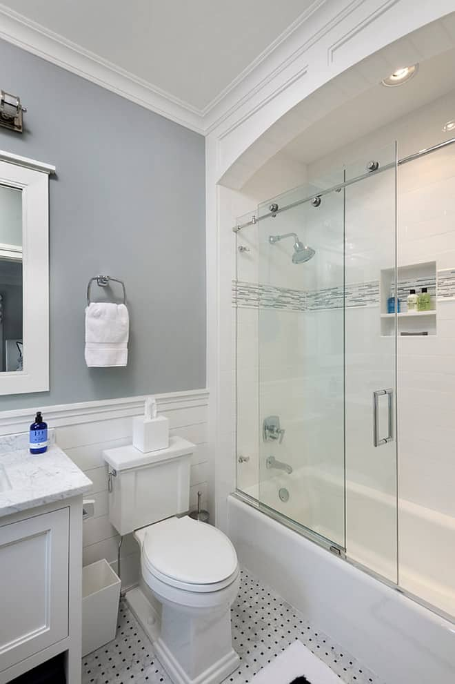 white tile with stone shower