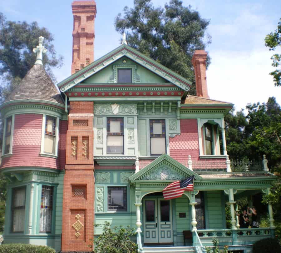 A colorful Victorian home.