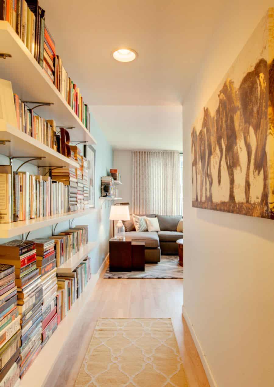 Built-in entryway bookshelves.