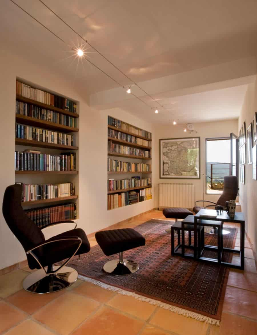 Save space with recessed bookshelves.