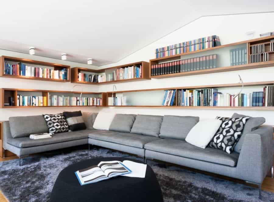 Shelving above the couch.