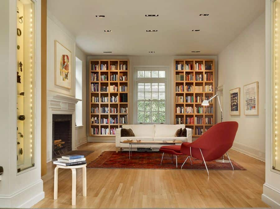 Show off your collection with floor to ceiling bookshelves.