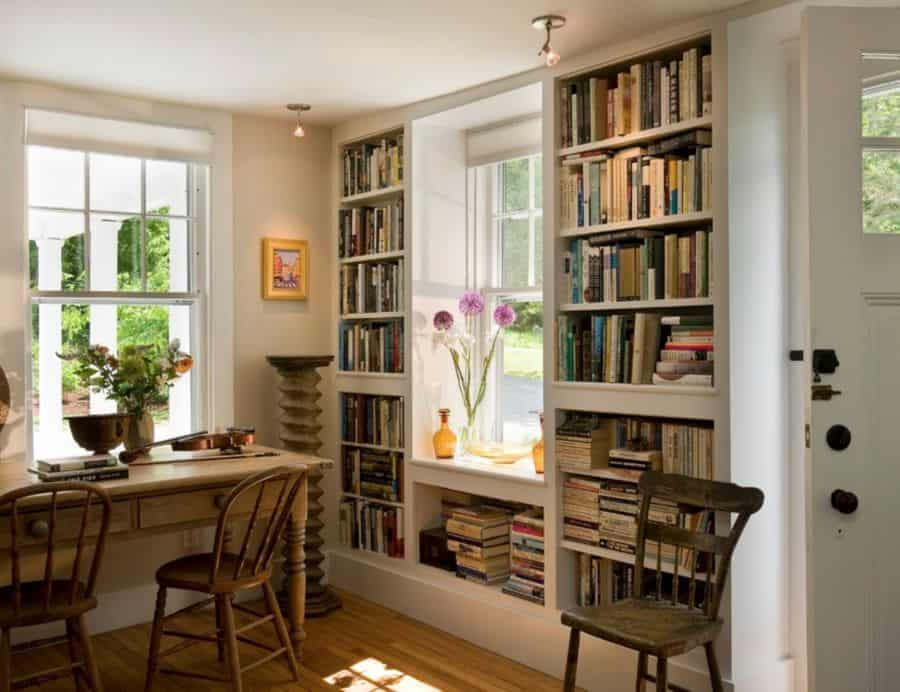 Surround a window with bookshelves.