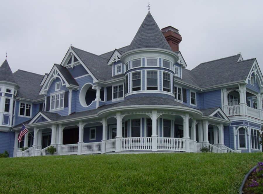 This Victorian home has decorative trim.