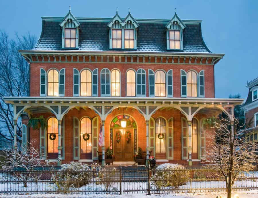 This brick-faced home is stunning.