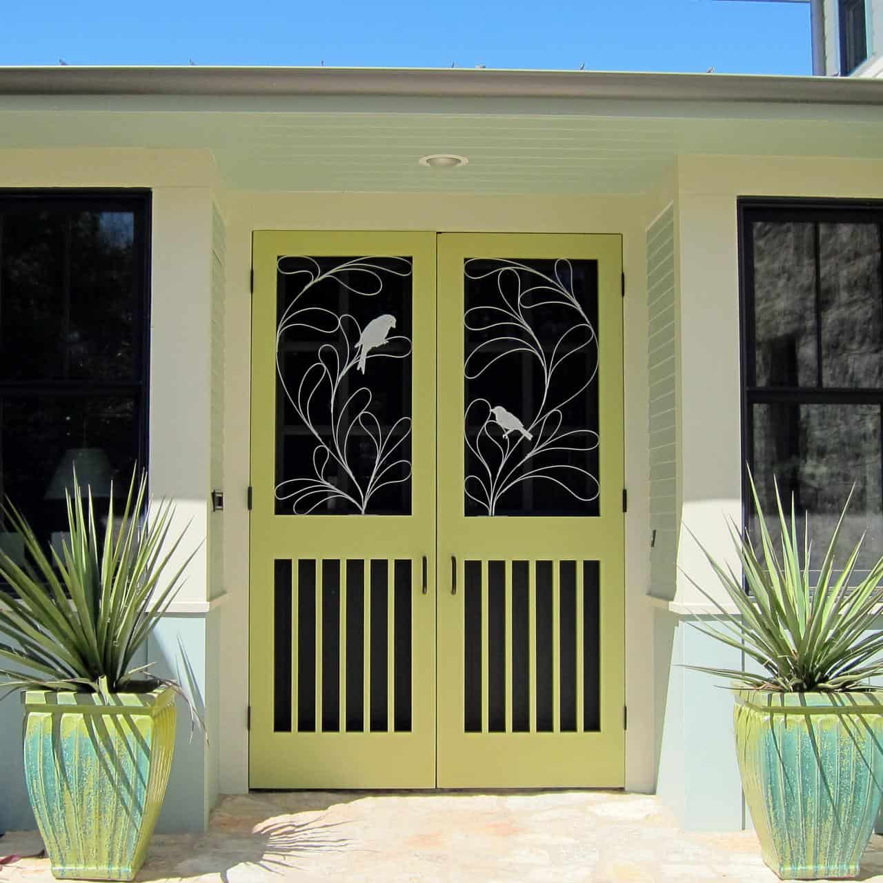 beautiful bird and green front door design