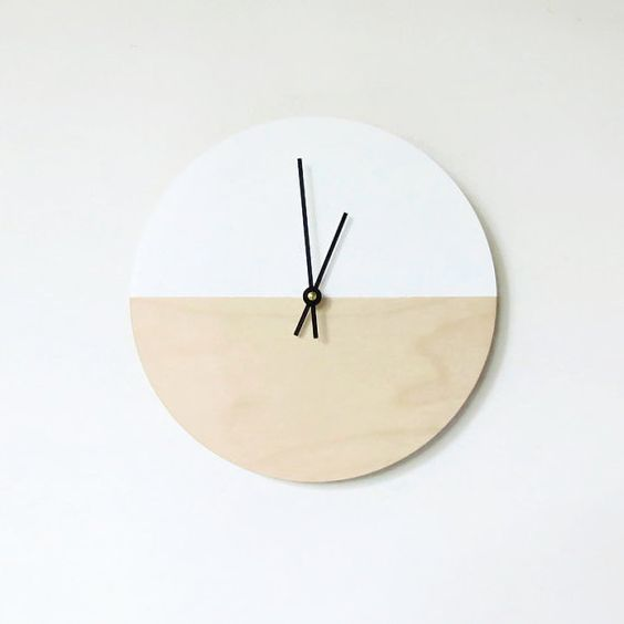 birch wood and white modern wall clock