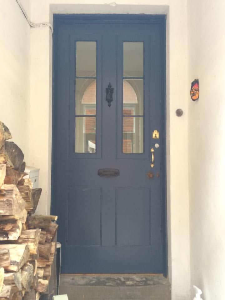 gunmetal blue and window front door design