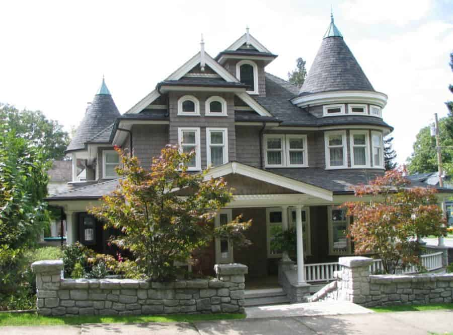 heck out the beautiful turrets on this Victorian home.