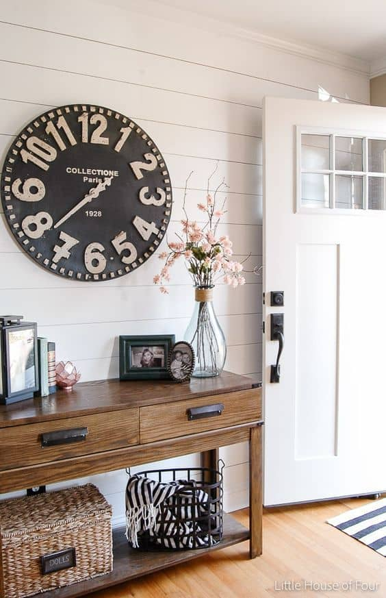 large number vintage inspired wall clock