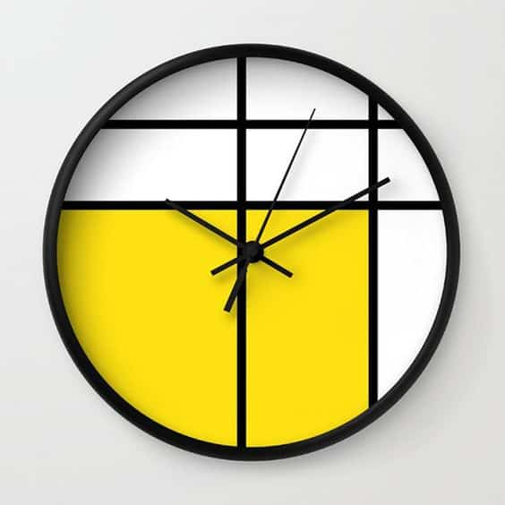 modern yellow black and white wall clock