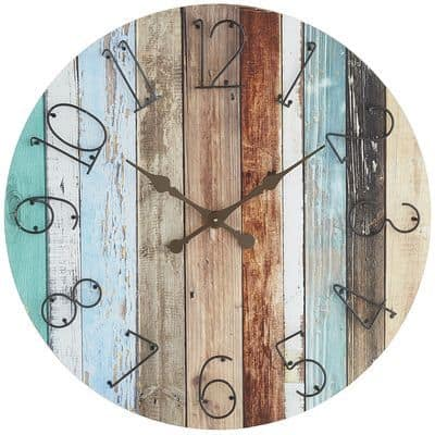 multicolor wood board wall clock