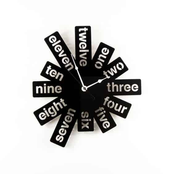 numbers as words wall clock