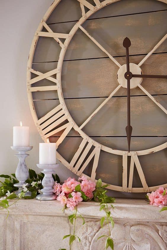 oversized distressed metal wall clock