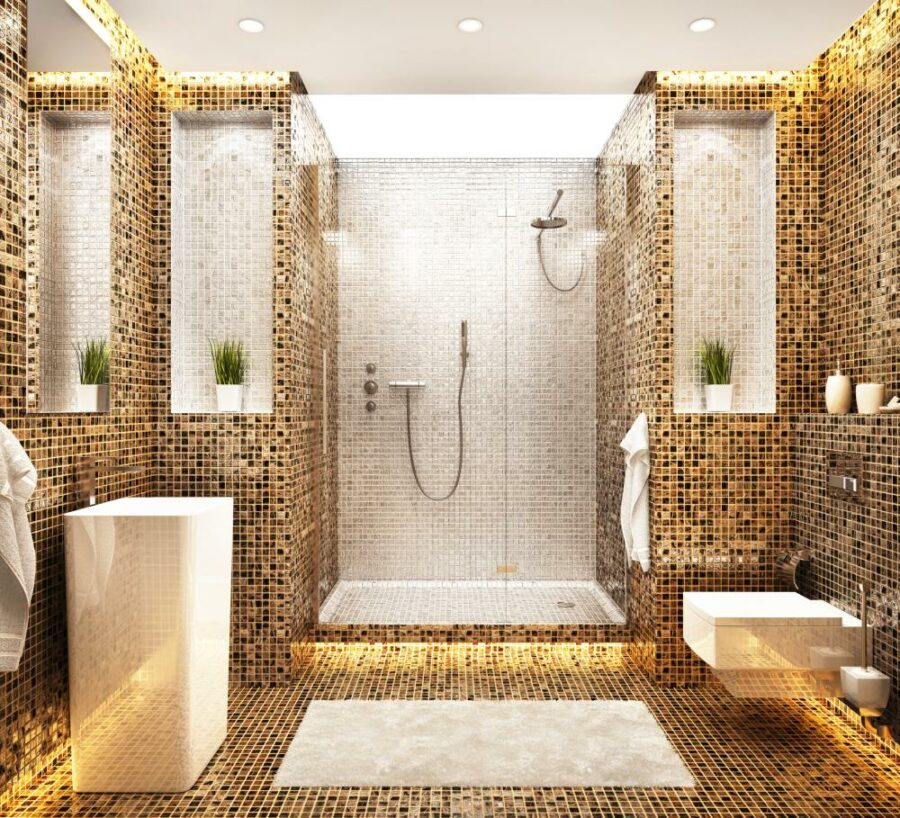 walk in shower tile ideas 900x818 25 Shower Tile Ideas to Help You Plan for a New Bathroom